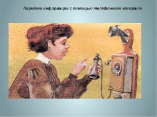 Передача информации с помощью телефонного аппарата Передача информации с помо