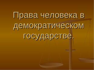 Права человека в демократическом государстве.
