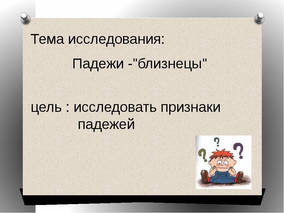 """Тема исследования: цель : исследовать признаки падежей Падежи -""""близнецы"""""""