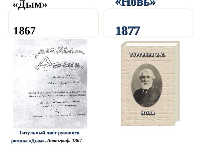 «Дым» 1867 Титульный лист рукописи романа «Дым». Автограф. 1867 «Новь» 1877