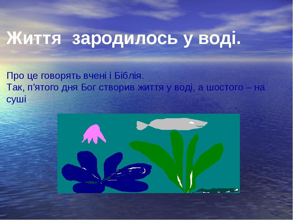 Життя зародилось у воді. Про це говорять вчені і Біблія. Так, п'ятого дня Бог...