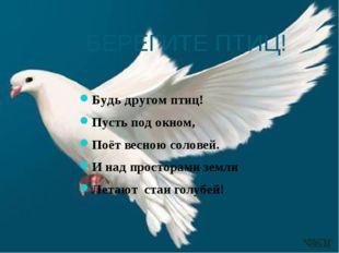 БЕРЕГИТЕ ПТИЦ! Будь другом птиц! Пусть под окном, Поёт весною соловей. И над