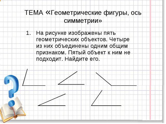 ТЕМА «Геометрические фигуры, ось симметрии» На рисунке изображены пять геомет...