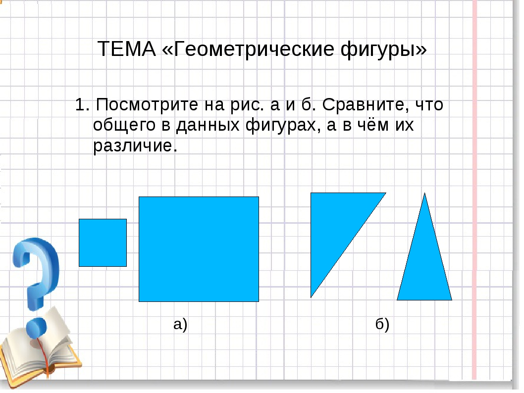 ТЕМА «Геометрические фигуры» 1. Посмотрите на рис. а и б. Сравните, что общег...