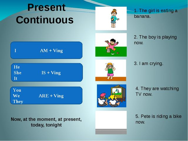 Present Continuous I AM + Ving You We ARE + Ving They He She IS + Ving It No...