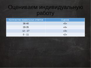 Оцениваем индивидуальную работу Количество правильных ответов Оценка 36-40 «5