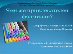 Автор проекта: ученица 3 «А» класса Степашкина Марина Олеговна  Руководитель