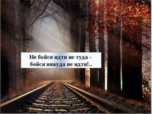 Не бойся идти не туда - бойся никуда не идти!..