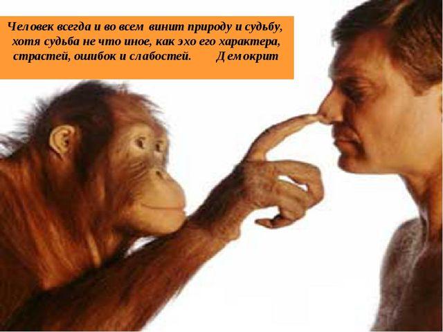 Человек всегда и во всем винит природу и судьбу, хотя судьба не что иное, как...