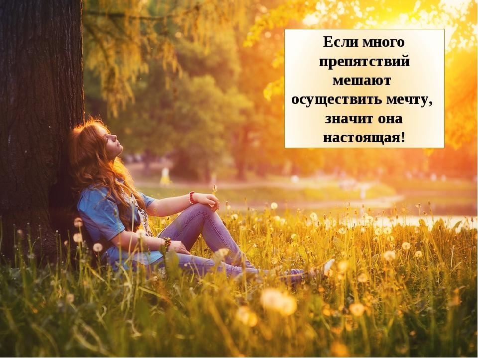 Если много препятствий мешают осуществить мечту, значит она настоящая!