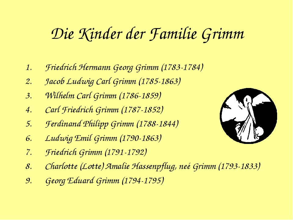 Die Kinder der Familie Grimm Friedrich Hermann Georg Grimm (1783-1784) Jacob...