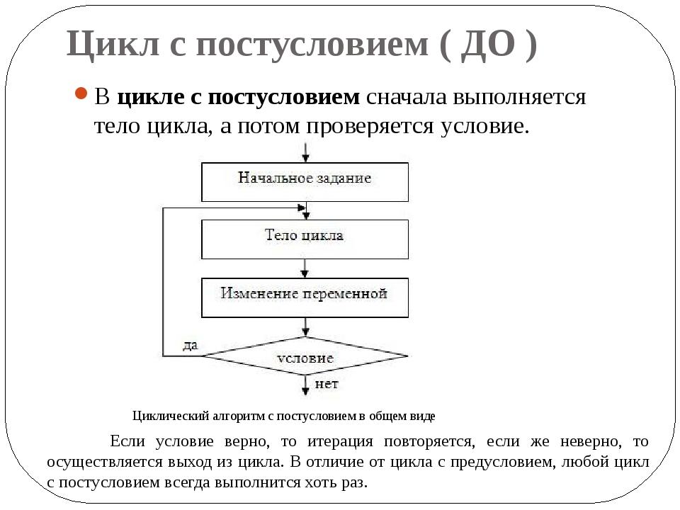 Цикл с постусловием ( ДО ) Вцикле с постусловиемсначала выполняется тело ци...