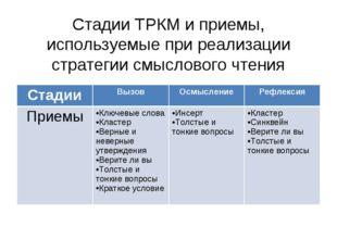 Стадии ТРКМ и приемы, используемые при реализации стратегии смыслового чтени