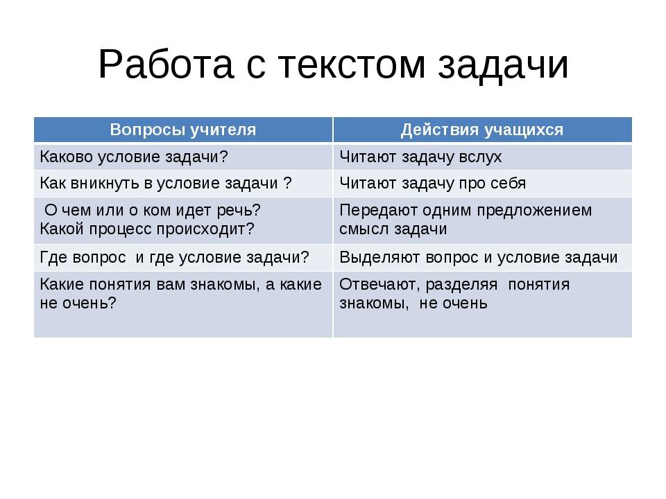Работа с текстом задачи Вопросы учителяДействия учащихся Каково условие зада...