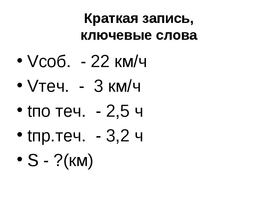 Краткая запись, ключевые слова Vсоб. - 22 км/ч Vтеч. - 3 км/ч tпо теч. - 2,5...