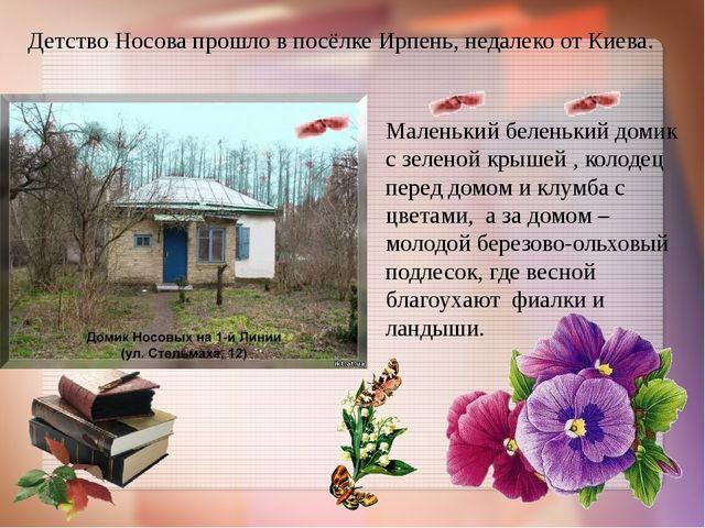 Детство Носова прошло в посёлке Ирпень, недалеко от Киева. Маленький беленьки...
