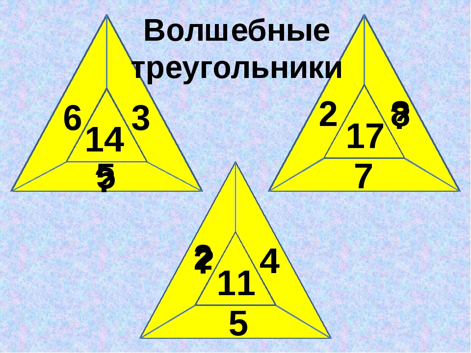 14 17 11 6 3 2 7 5 4 5 ? 8 ? ? 2 Волшебные треугольники