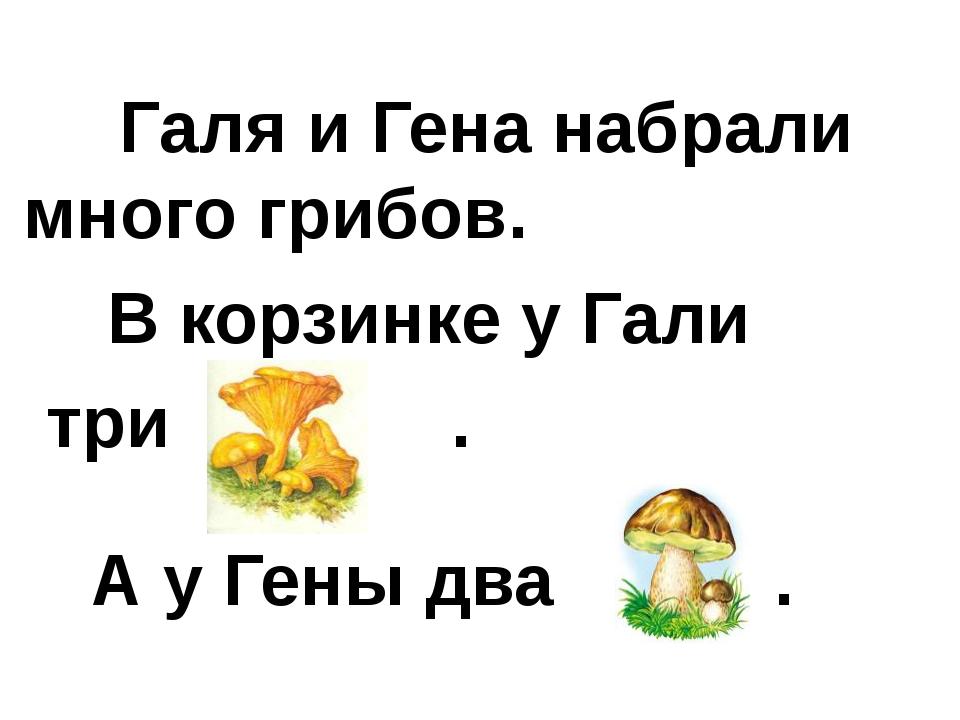 Галя и Гена набрали много грибов. В корзинке у Гали три . А у Гены два .