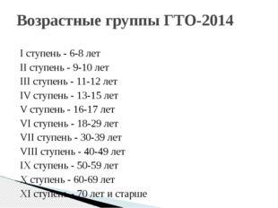 I ступень - 6-8 лет II ступень - 9-10 лет III ступень - 11-12 лет IV ступень