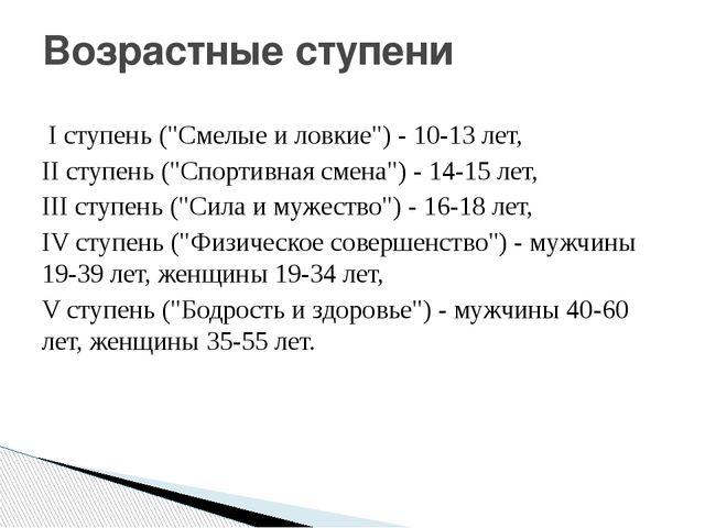 """I ступень (""""Смелые и ловкие"""") - 10-13 лет, II ступень (""""Спортивная смена"""") -..."""