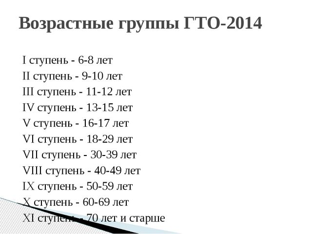 I ступень - 6-8 лет II ступень - 9-10 лет III ступень - 11-12 лет IV ступень...