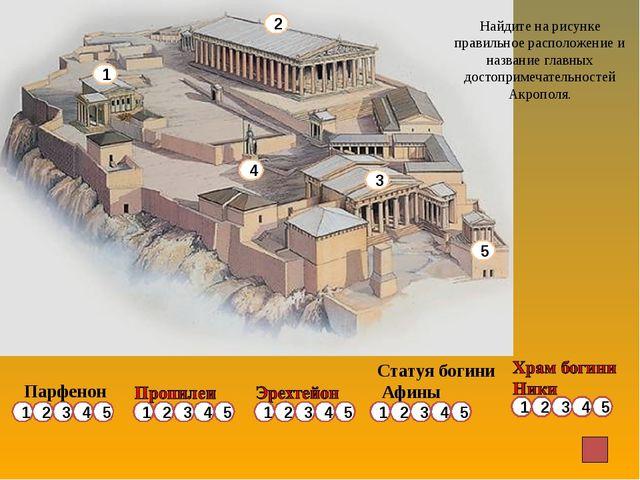 Парфенон Статуя богини Афины 1 3 5 2 4 Найдите на рисунке правильное располож...