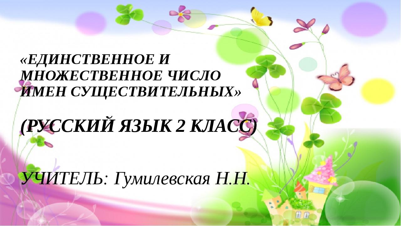 «ЕДИНСТВЕННОЕ И МНОЖЕСТВЕННОЕ ЧИСЛО ИМЕН СУЩЕСТВИТЕЛЬНЫХ» (РУССКИЙ ЯЗЫК 2 КЛА...