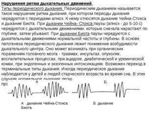 Нарушения ритма дыхательных движений. Типы периодического дыхания. Периодичес