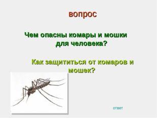 вопрос Чем опасны комары и мошки для человека? Как защититься от комаров и мо