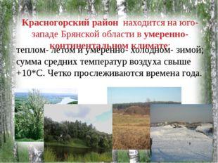 Красногорский район находится на юго- западе Брянской области в умеренно-конт