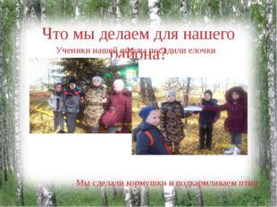 Что мы делаем для нашего района? Ученики нашей школы посадили елочки Мы сдела