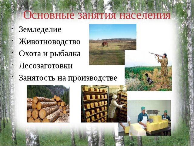 Основные занятия населения Земледелие Животноводство Охота и рыбалка Лесозаго...