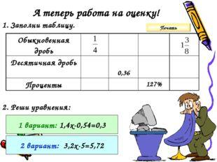 А теперь работа на оценку! 1. Заполни таблицу. 2. Реши уравнения: 1 вариант: