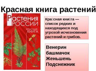 Красная книга растений Кра́сная кни́га —список редких и находящихся под угроз