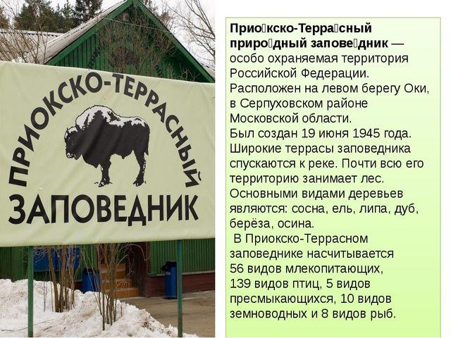 Прио́кско-Терра́сный приро́дный запове́дник — особо охраняемая территория Рос...