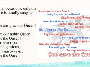 On official occasions, only the first verse is usually sung, as follows: God