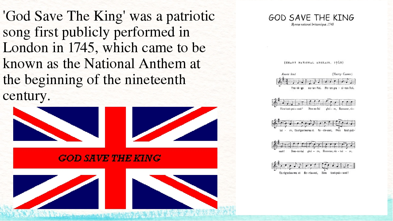 'God Save The King' was a patriotic song first publicly performed in London i...