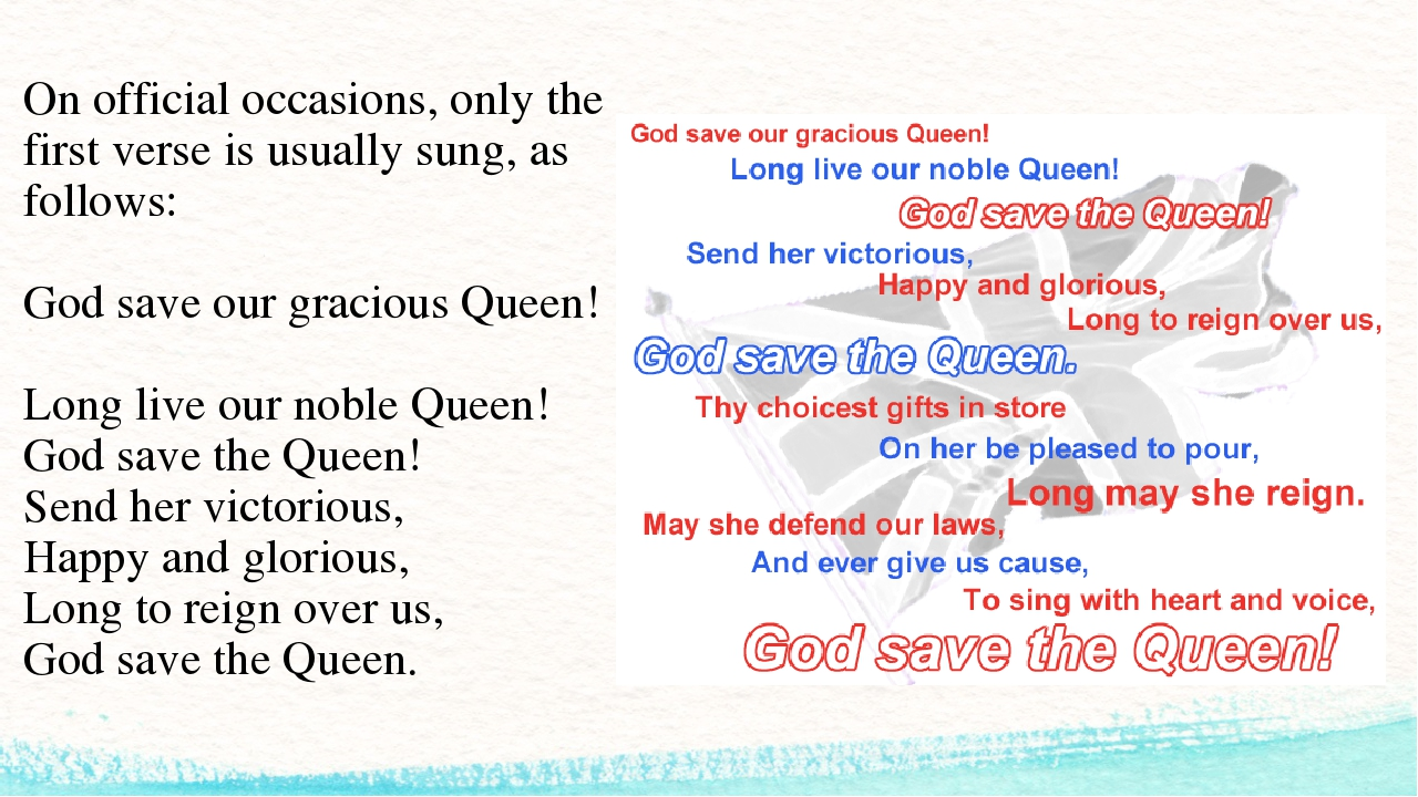 On official occasions, only the first verse is usually sung, as follows: God...