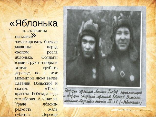 «Яблонька» «…танкисты пытались замаскировать боевые машины: перед окопом ро...