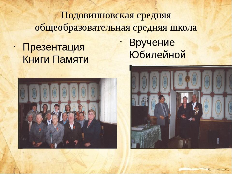 Подовинновская средняя общеобразовательная средняя школа Презентация Книги П...