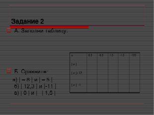 Задание 2 А. Заполни таблицу:  Б. Сравните: а) | – 8 | и | – 5 | б) | 12,3 |