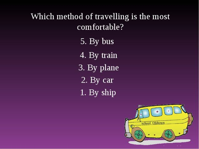 Which method of travelling is the most comfortable? 1. By ship 2. By car 3. B...