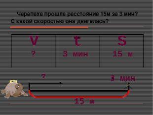 Черепаха прошла расстояние 15м за 3 мин? С какой скоростью она двигалась? S