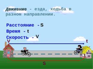 Движение - езда, ходьба в разном направлении. S S t V t V Расстояние - Время