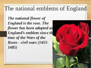 The national emblems of England The national flower of England is the rose. T