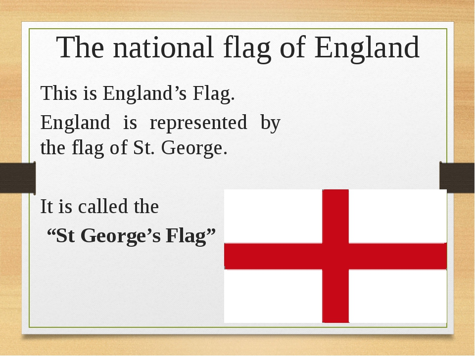 The national flag of England This is England's Flag. England is represented b...