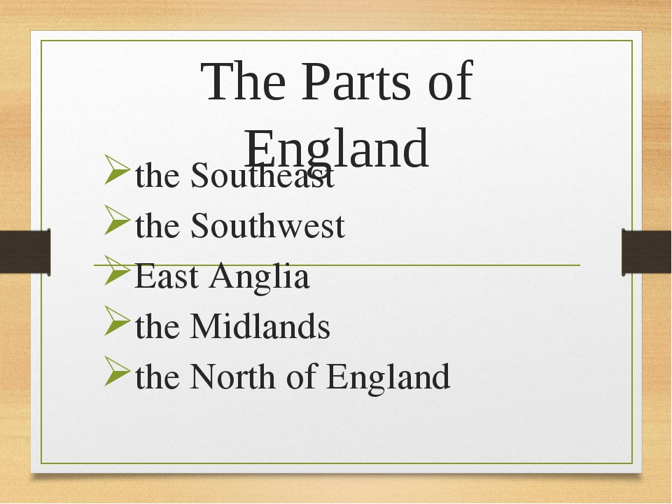 The Parts of England the Southeast the Southwest East Anglia the Midlands the...