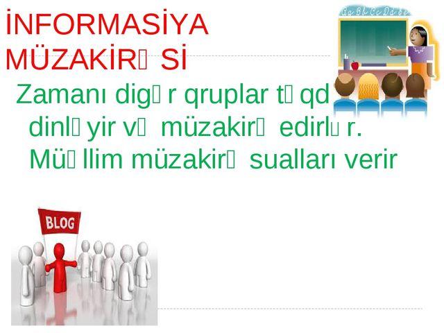İNFORMASİYA MÜZAKİRƏSİ Zamanı digər qruplar təqdimatı dinləyir və müzakirə ed...