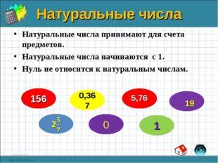 Натуральные числа Натуральные числа принимают для счета предметов. Натуральны
