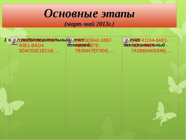Основные этапы (март-май 2013г.)